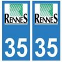 35 Rennes logo autocollant plaque stickers ville