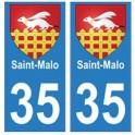 35 Saint-Malo blason autocollant plaque stickers ville