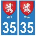 35 Vitré blason autocollant plaque stickers ville