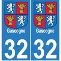 32 Gers Gascogne sticker plate
