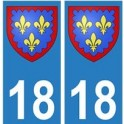18 Berry autocollant plaque blason armoiries stickers département
