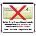 Autocollant chèques refusés sticker adhesif