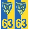 63 ASM Clermont Rugby yellow blue sticker plate