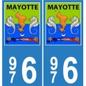 976 Mayotte blason autocollant plaque blason armoiries stickers département