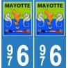 976 Mayotte blason autocollant plaque blason armoiries stickers département