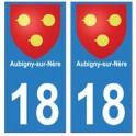 18 Aubigny-sur-Nère blason ville autocollant plaque