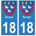 18 Bourges autocollant plaque
