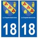 18 Chapelle-Saint-Ursin blason autocollant plaque ville