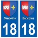 18 Sancoins blason autocollant plaque ville