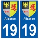 19 Allassac blason autocollant plaque ville