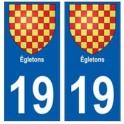 19 Egletons blason autocollant plaque ville