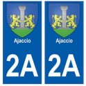 2A Ajaccio blason autocollant plaque stickers ville