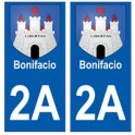 2A Bonifacio blason autocollant plaque stickers ville
