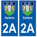 2A Sartène blason autocollant plaque stickers ville