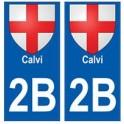 2B Calvi autocollant plaque blason armoiries stickers ville