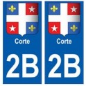 2B Corte autocollant plaque blason armoiries stickers ville