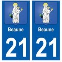 21 Beaune blason autocollant plaque stickers ville