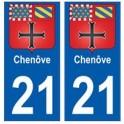 21 Chenôve blason autocollant plaque stickers ville