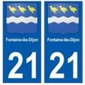 21 Fontaine-lès-Dijon blason autocollant plaque stickers ville