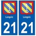 21 Longvic blason autocollant plaque stickers ville