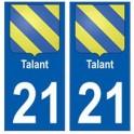 21 Talant blason autocollant plaque stickers ville