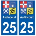 25 Audincourt blason autocollant plaque stickers ville