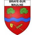 Braye-sur-Maulne 37 ville Stickers blason autocollant adhésif