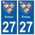 27 Evreux blason autocollant plaque stickers ville