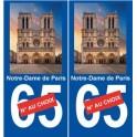 75 Notre-Dame de Paris ville sticker autocollant plaque immatriculation auto