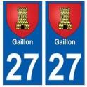 27 Gaillon blason autocollant plaque stickers ville