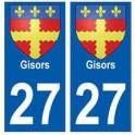 27 Gisors blason autocollant plaque stickers ville