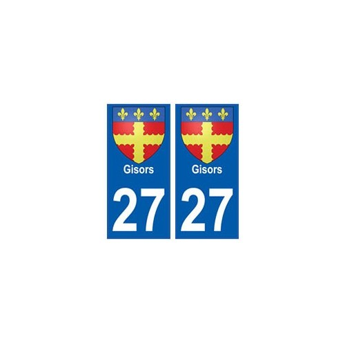 27 gisors blason autocollant plaque immatriculation stickers ville. Black Bedroom Furniture Sets. Home Design Ideas