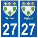 27 Vernon blason autocollant plaque stickers ville