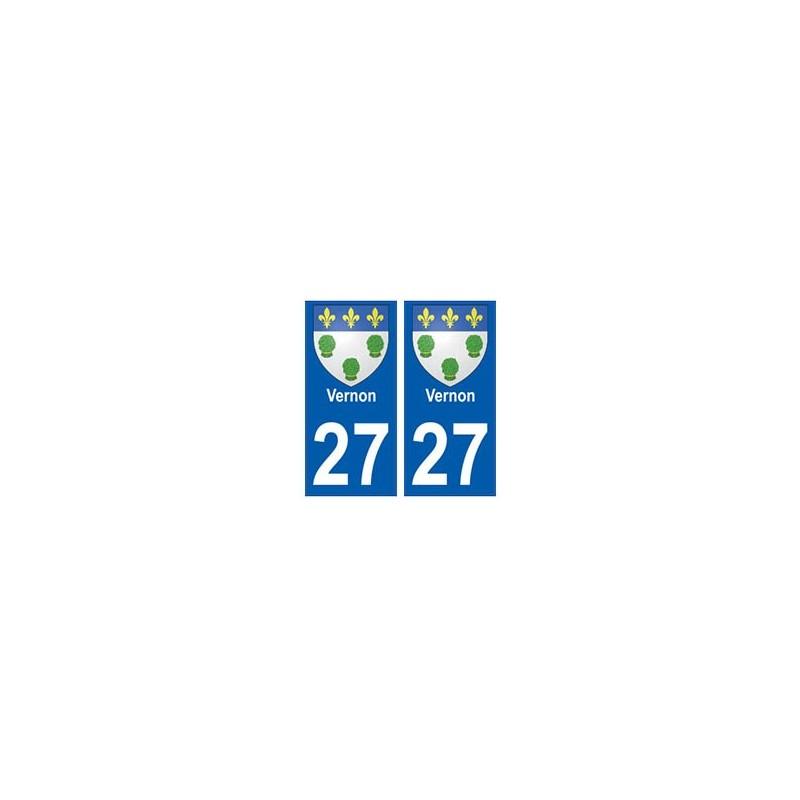 27 vernon blason autocollant plaque immatriculation stickers ville. Black Bedroom Furniture Sets. Home Design Ideas