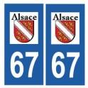 67 Bas Rhin autocollant plaque