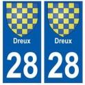 28 Dreux blason stickers ville