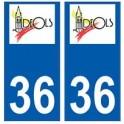 36 Déols logo autocollant plaque stickers ville