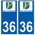 36 Issoudun logo autocollant plaque stickers ville