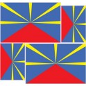 set 4 drapeau réunion autocollant adhésif sticker