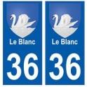 36 Le Blanc blason autocollant plaque stickers ville