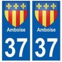 37 Amboise blason autocollant plaque stickers ville
