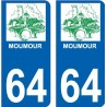 64 Pau logo sticker plate registration city
