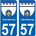57 Garrebourg blason autocollant plaque immatriculation auto ville sticker