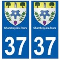 37 Chambray-lès-Tours blason autocollant plaque stickers ville