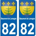 Beaumont de Lomagne 82 autocollant plaque immatriculation auto ville sticker