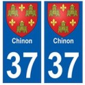 37 Chinon blason autocollant plaque stickers ville