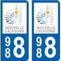 988 Nouvelle Calédonie logo autocollant plaque immatriculation auto ville sticker