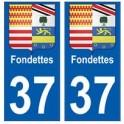 37 Fondettes blason autocollant plaque stickers ville