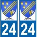 24 Vallée Ceou Daglan autocollant plaque immatriculation auto ville sticker