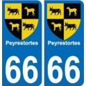 66 Peyrestortes autocollant plaque immatriculation auto ville sticker